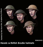 Heads w/British Brodie helmets (5. pcs)