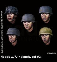 Heads w/FJ helmets, set #2 (5. pcs)