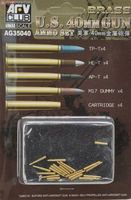 Bofors 40mm Brass ammo set. Includes TP-T x 4, HE-T x 4, AP-T x 4, M17 dummy x 4 and Cartridge x 4 - Image 1