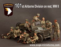 101st Airborne Division on rest, WW II 9 figures