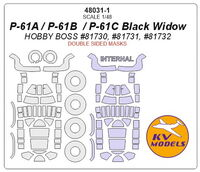 P-61A / P-61B  / P-61C Black Widow (HOBBY BOSS #81730, #81731, #81732) - (double sided) + wheels masks - Image 1