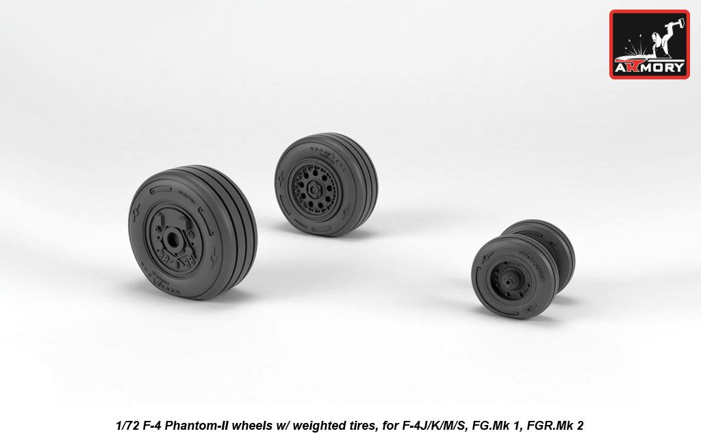F-4 Phantom-II wheels w/ weighted tires, late - Image 1